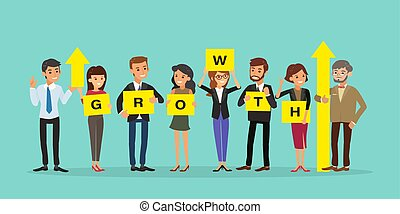 group of business people holding board with GROWTH word and up arrow graph. Successful business growth concept illustration. businessman cartoon character.