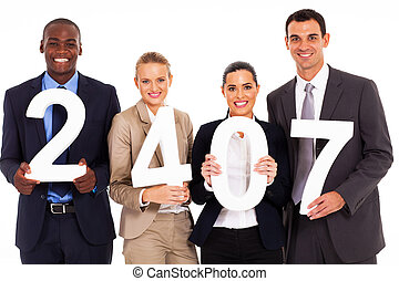 group of business people holding numbers