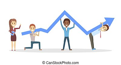 Group of business people holding rising arrow