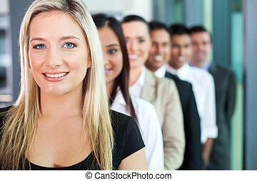 group of business people in a row