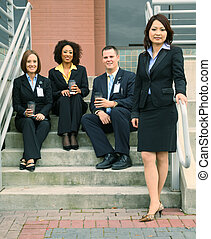 Group Of Business People In Front Of Building