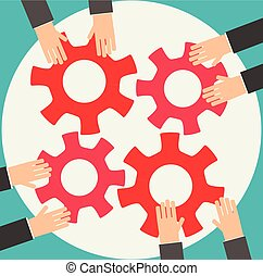 Group of Business People joining together gears on the table, teamwork concept