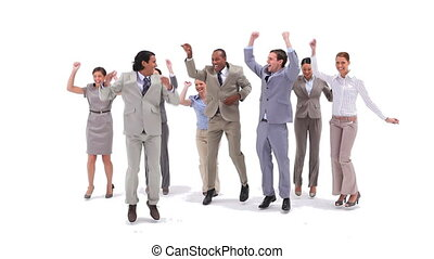 Group of business people jumping with money falling from the air against a white background