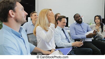 Group of Business People Listening to Presentation Ask Question At Seminar Mature Businessman Leading Training Meeting