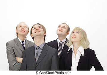 group of business people looking at copy space