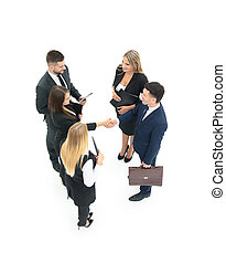 Group of business people making handshake. Isolated on white bac