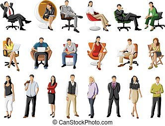 Group of business people on table with computer