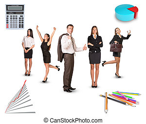 Group of business people on white