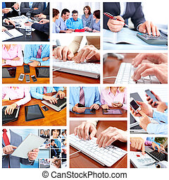 Group of business people. - Group of business people working...
