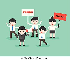 Group of business people protest for fair pay, business situation ready to use