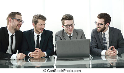 group of business people sitting at the office Desk