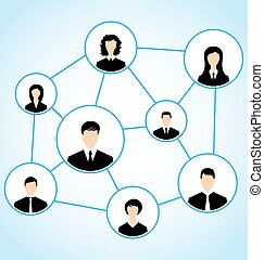 Illustration group of business people, social relationship - vector