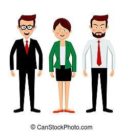 group of business people standing full length on white