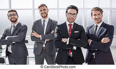group of business people standing in the office