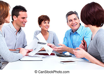Group of business people. Working with documents. Isolated...