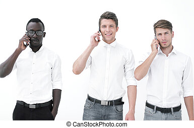 group of business people talking on a mobile phone.