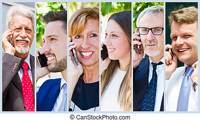 Group of business people talking on the phone