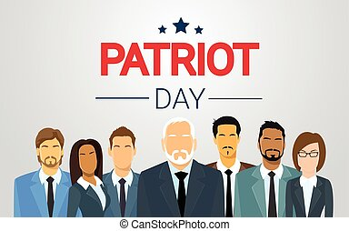 Group of Business People Team National USA Patriot Day...