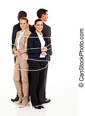 business people tied up together
