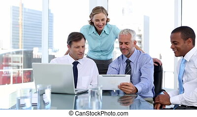 Group of business people using lapt