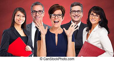 Group of business people wearing eyeglasses.
