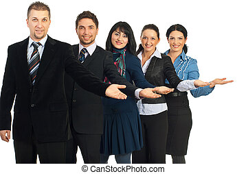 Group of business people welcoming