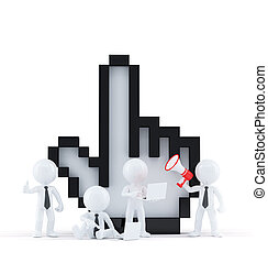 Group of business people with cursor