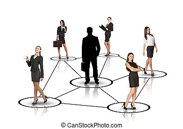 Group of business people with leader silhouette