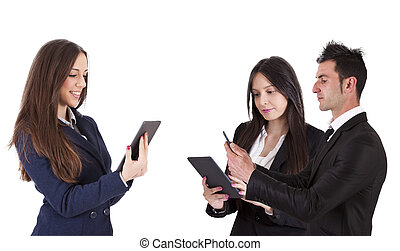 group of business people with tablet