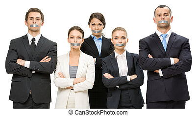 Group of business people with taped mouths and their hands...