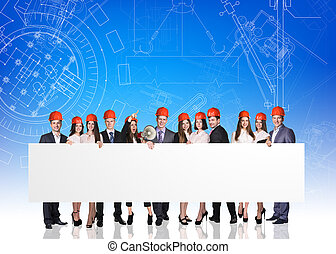Group of business people with white empty board