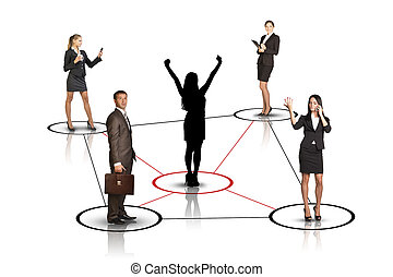 Group of business people with woman silhouette