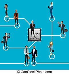 Group of business persons standing on Microchip and Circuit board