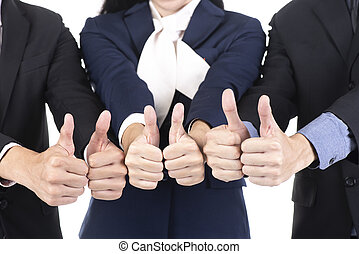 Group of business show thumbs up hands, isolated on white