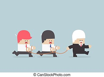 Group of business slave following businessman Leader