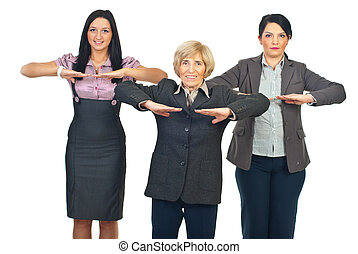 Group of business women doing fitness