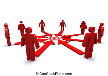 Group of business workers with red target spot on white background.