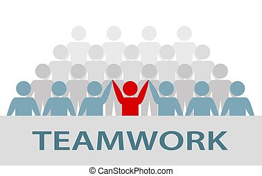 Group of businessman and businesswoman people, teamwork art work banner, business team and teamwork concept, stock vector illustration in flat design