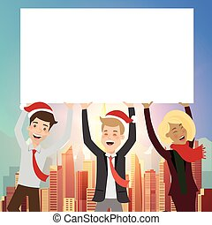 Group of businessman holding board for christmas