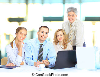 Group of businessmen discussing in