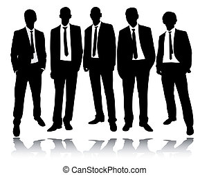 group of businessmen standing and posing - vector