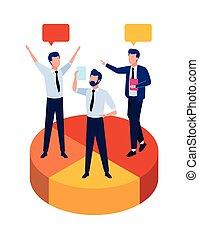 group of businessmen teamwork in statistics pie characters
