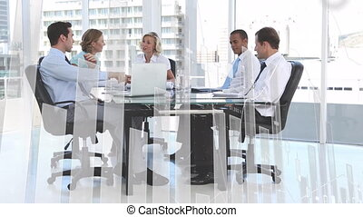 Group of businesspeople and data