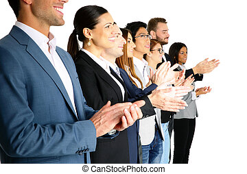 Group of businesspeople applauding