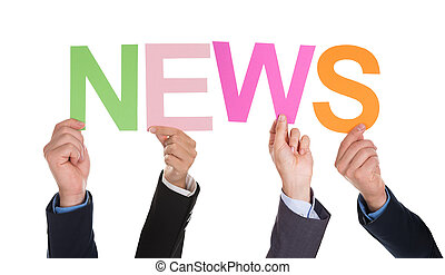 Group Of Businesspeople Hands Holding Word News