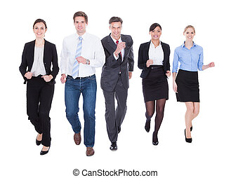 Group Of Businesspeople Running
