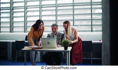 Group of businesspeople with laptop in office, expressing...