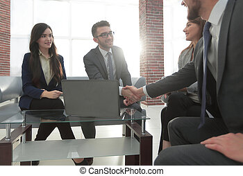 group of businesspeople wotking together in office.