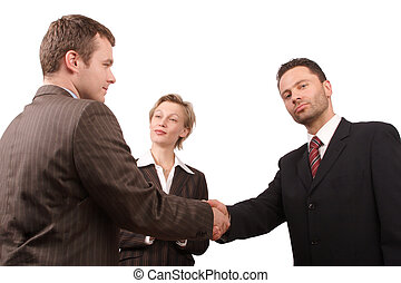 promotion - Group of busisness people - business hand shake...