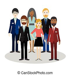 Group of bussiness people. Cartoon avatar. Flat vector.